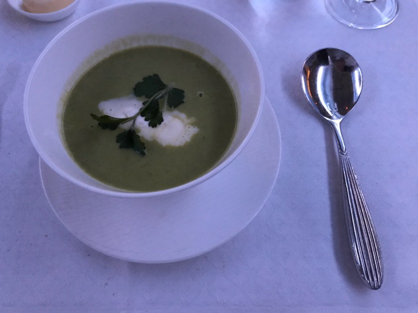 Qatar Airways Business Class Pea Soup