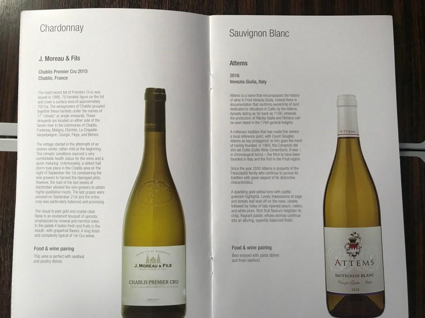 White Wine Qatar Airways A350 Business Class Wine List