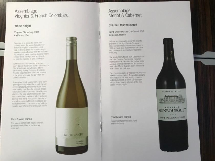 White/Red Wine Qatar Airways A350 Business Class Wine List
