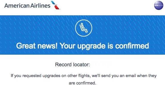 American Airlines Executive Platinum Upgrade Cleared Early