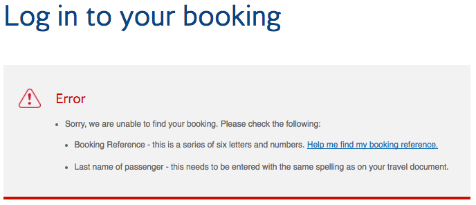 British Airways Manage Booking Error