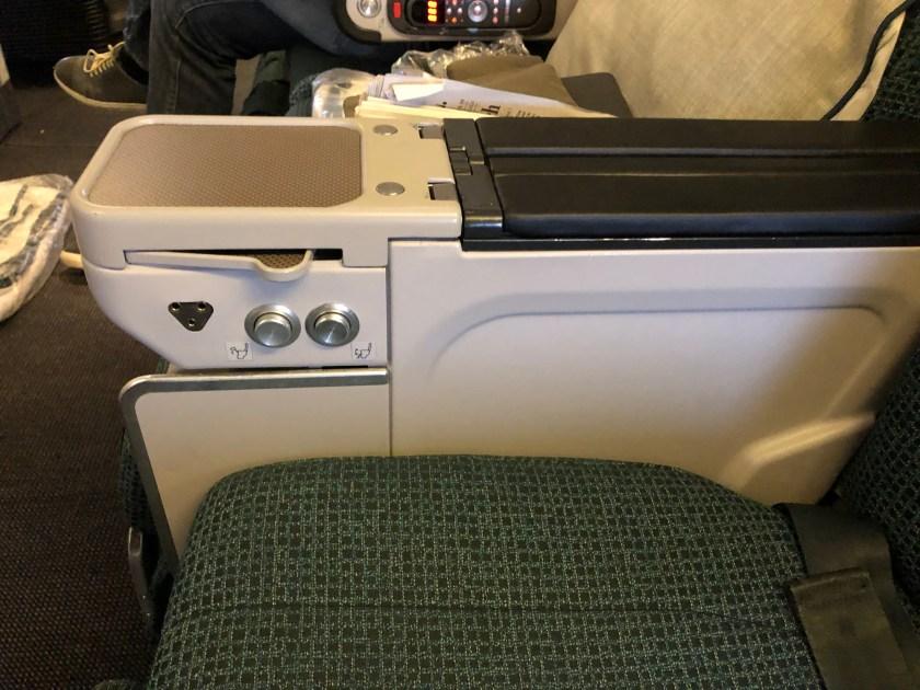 Cathay Pacific 777 Premium Economy Seat Controls