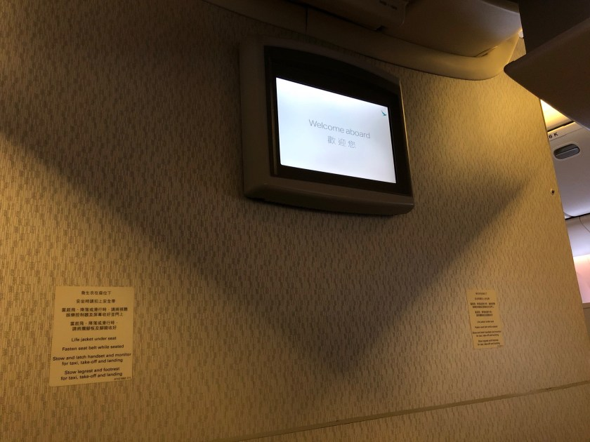 Cathay Pacific 777 Premium Economy Bulkhead Monitor