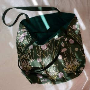 CoralBloom Cotton Tote Bag Scabious Detail