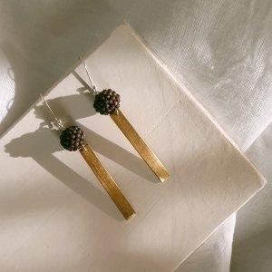 CoralBloom Earrings Reclaimed Brass Bar Detail