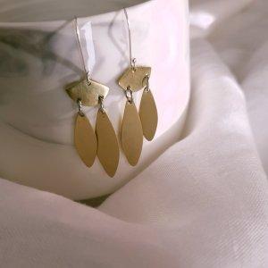 CoralBloom Earrings Reclaimed Brass Raindrop Earrings