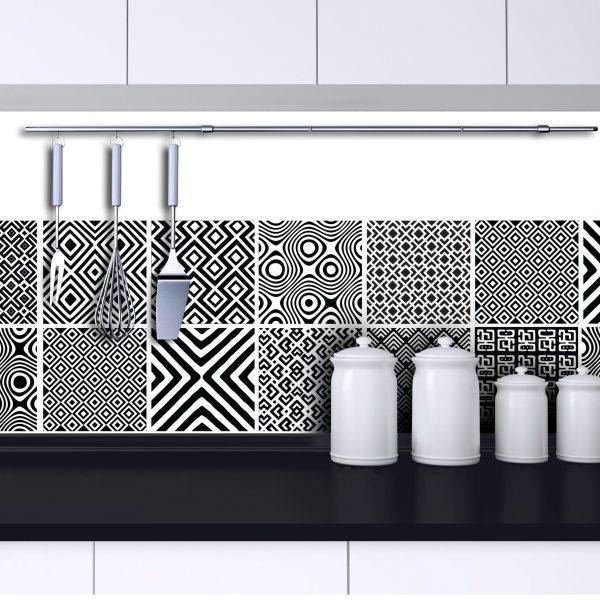 African Mix - Black vinyl wall tiles