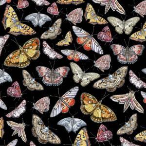 CoralBloom Kimono Purelinen Butterflies on Black