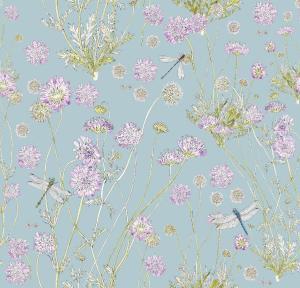 CoralBloom Kimono Purelinen Scabious on French Blue Dragongfly