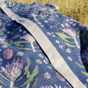 CoralBloom Linen Kimono Protea Detail Closeup