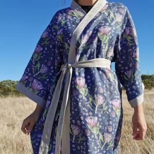 CoralBloom Linen Kimono Protea Front View