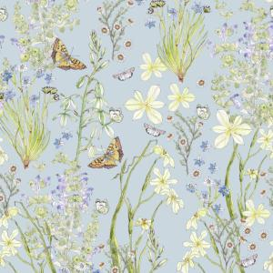 CoralBloom Tablecloth Cotton Butterflies and Fynbos on Blue
