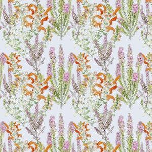 CoralBloom Tablecloth Cotton Salvia and Erica on Blue