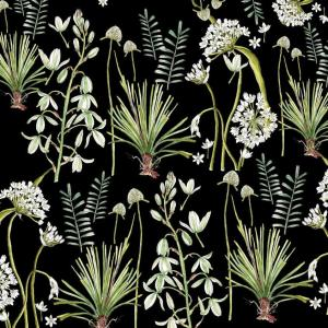 CoralBloom Tablecloth Cotton Greenery Botanicals on Black