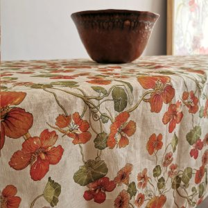 CoralBloom Tablecloth Cotton Tablesetting Nasturtiums