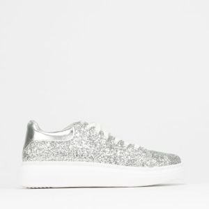 Glitter Lace Up Sneaker Silver