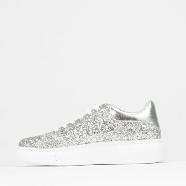 Glitter Lace Up Sneaker Silver