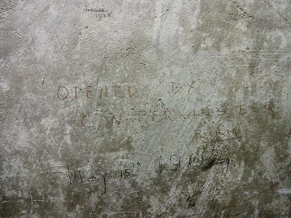 Graffiti inside the organ chamber records that CW Perkins opened the organ on 15 May 1902