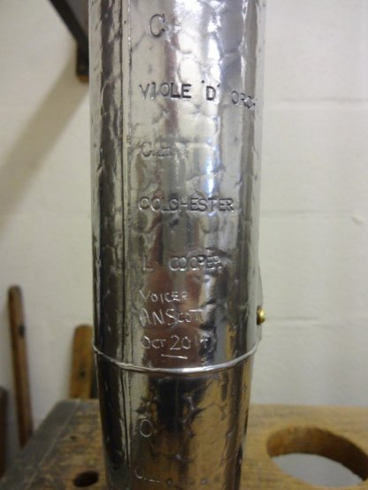 Pipemaker and voicers markings on New Viole d'Orchestre