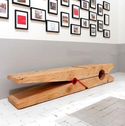 molletta bench banco forma pinza baldessari e baldessari