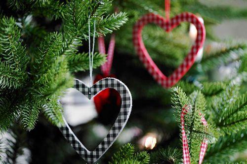 adornos navidad corazon rojo azul