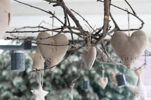 adornos navidad corazones blancos