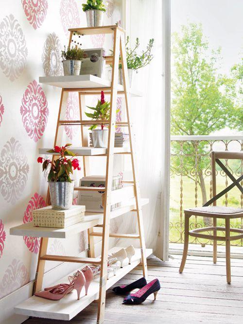estanteria escalera madera infojardin.com