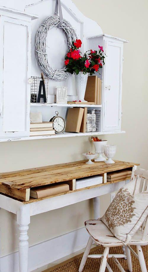 escritorio blanco palet 1001pallets.com