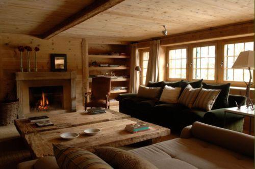casa gstaad suiza salon madera