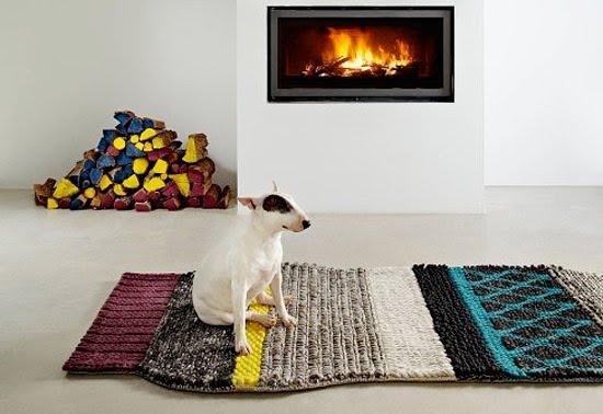 perro sobre alfombra diseño