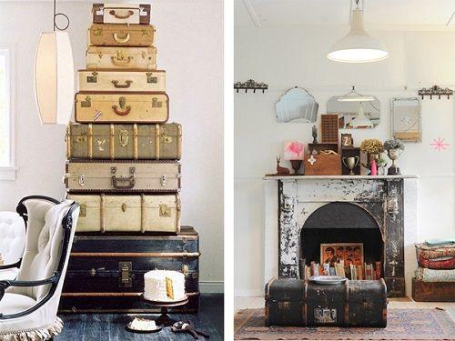 Interiorismo con maletas antiguas