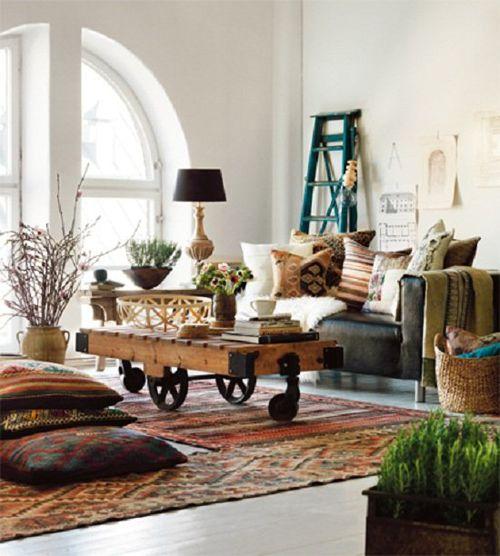 sala de estar decorada en madera
