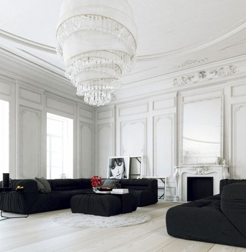 Parisian-Apartment-living-with-large-white-chandelier-and-black-lounges2-600x760
