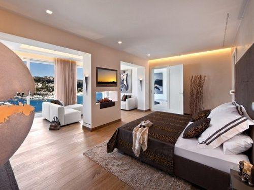 Dormitorio con print de leopardo