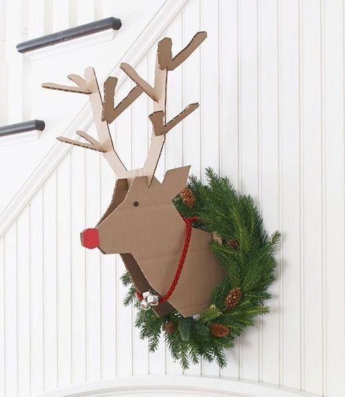 reno de carton decoracion de navidad diy3