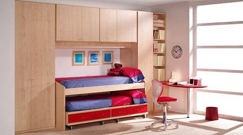 ideas decoracion poco espacio dos camas almacenaje