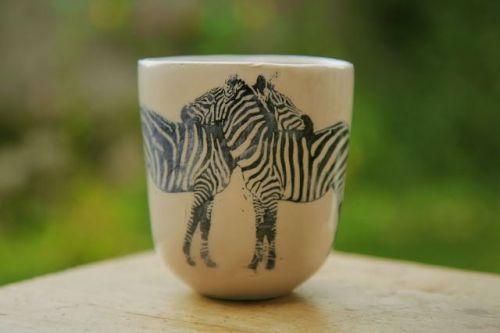 vaso taza cebra