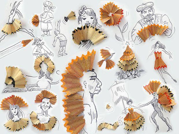 dibujos con restos lapiz sacapuntas