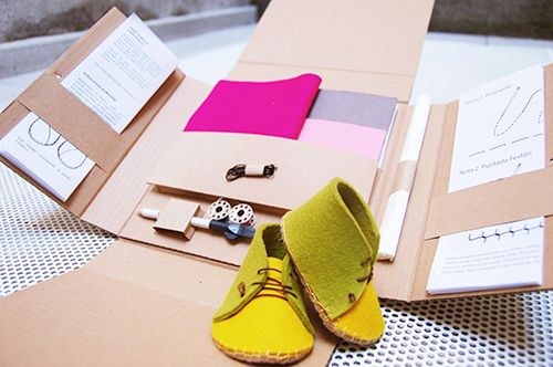 kit diy fieltro zapato fabrica de texturas