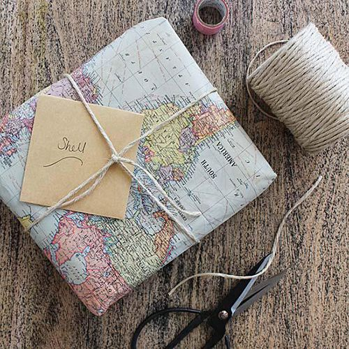 mapa envolver regalos papel ideas diy