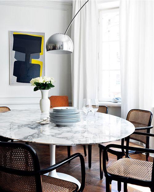 mesa marmol decoracion tendencia salon comedor interiorismo