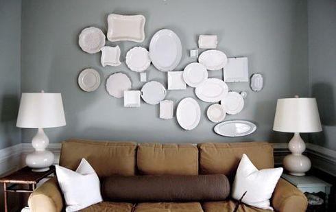 platos blancos ceramica paredes ideas decoracion