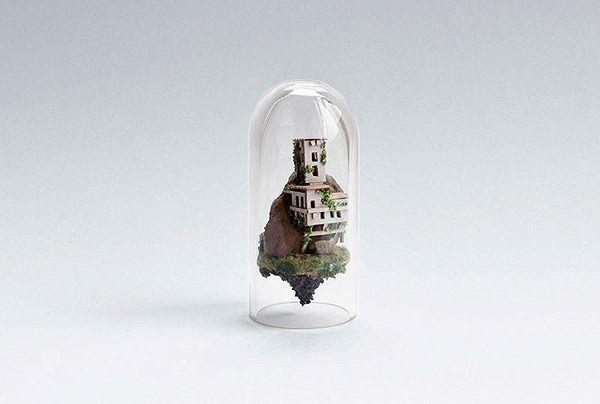 Geniales dioramas en tubos de ensayo por Rosa de Jong