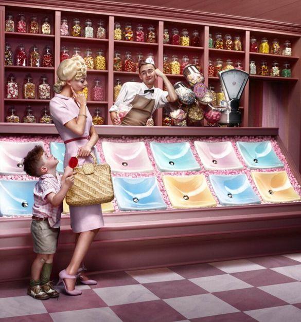 erwin olaf cac malaga fotografia comercial lavabos colores pastel tienda gominolas retro