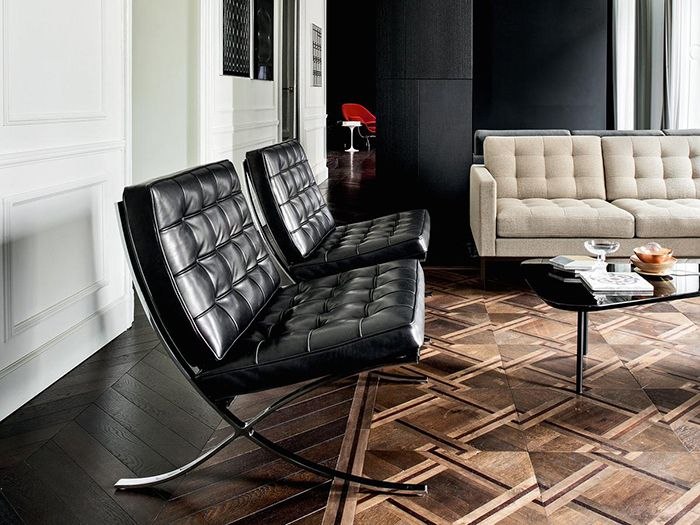 silla sillón barcelona chair mies van der rohe knoll cuero negro