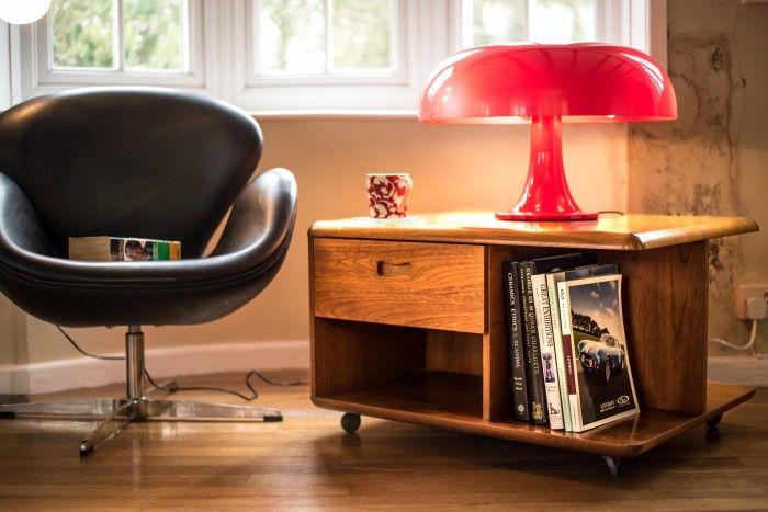 lampara nesso de giancarlo mattioli para artemide de sobremesa color rojo anos setenta