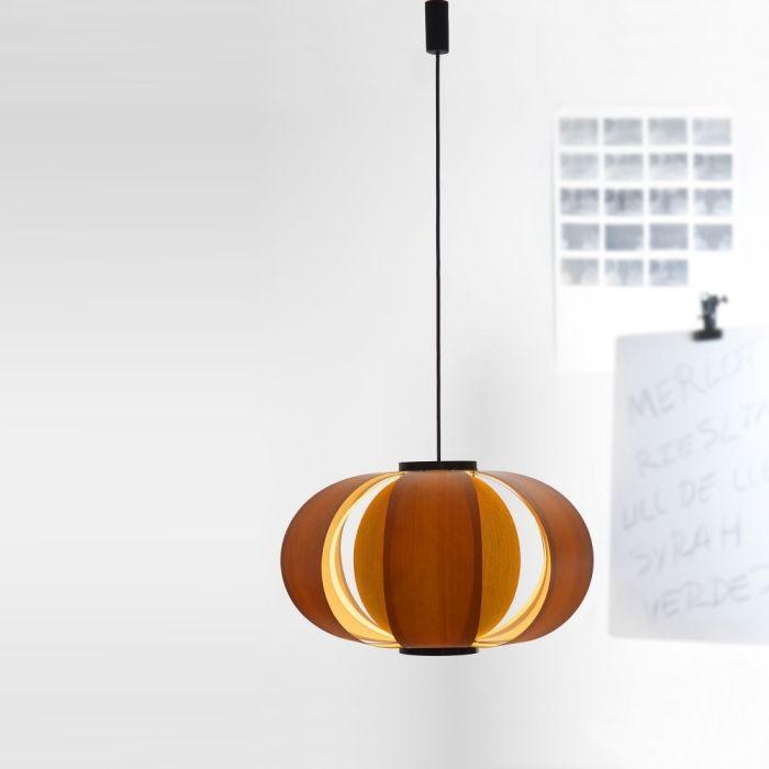 lampara disa jose antonio corderch de techo laminas madera pino oregon 1957 anos sesenta diseño español