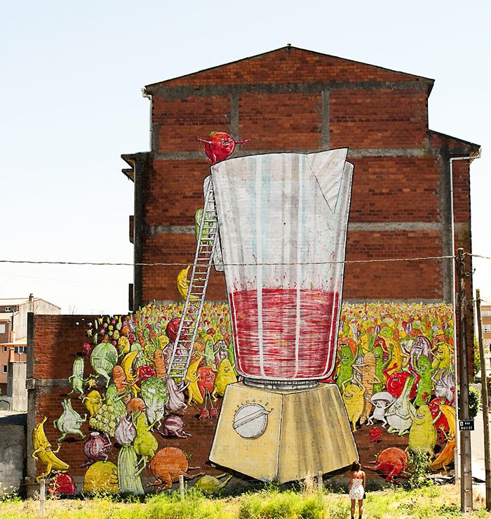 mural desordes creativas 2015 frutas licuadora fresa platano suicidio street art galicia arte urbano