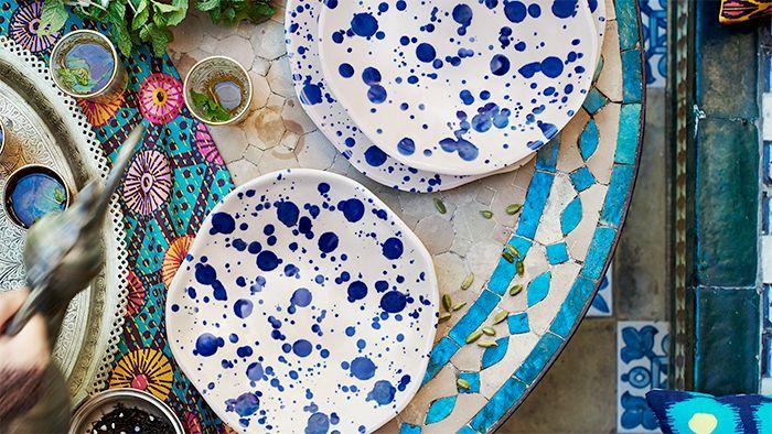 plato jassa gres vidriado azul