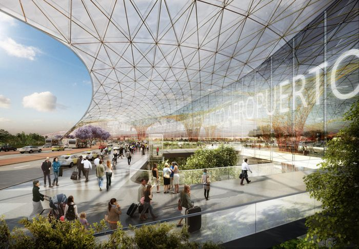 estructura arquitectonica cristal aeropuerto internacional zonas verdes